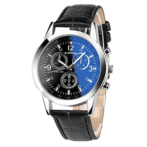 FEITONG Lujo Moda cuero de imitación De los hombres Vidrio azul del rayo Relojes de cuarzo
