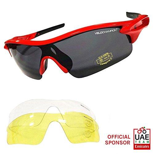 VeloChampion Warp Gafas de Sol (con 3 lentes: inc ahumado, claro) Rojo