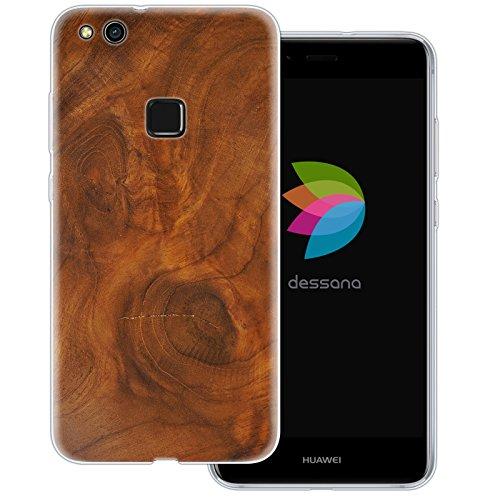 dessana Holz Maserung Transparente Silikon TPU Schutzhülle 0,7mm Dünne Handy Tasche Soft Case für Huawei P10 Lite Nussbaum Holz -