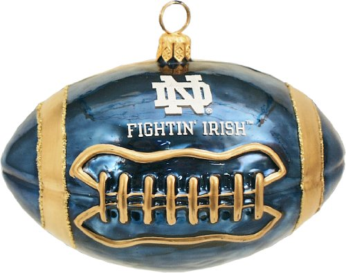 Joy to the World Collectibles University of Notre Dame Football Polish Glass Christmas Ornament -