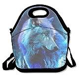 qifan almuerzo cajas luz azul lobo fiambrera contenedor de alimentos almuerzo bolso fresco moda...