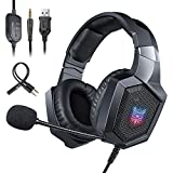 ONIKUMA PS4 Gaming Headset - Kopfhörer mit RGB LED Licht, Mikrofon, Noise-canceling für Nintendo Switch Xbox One S Playstation PC Smartphone Laptop Computer