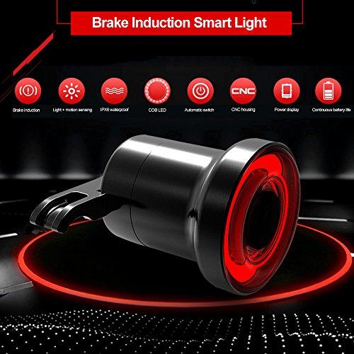 Teepao USB Ricaricabile Bike Tail Light, Super Bright Intelligente Luce Posteriore della Bicicletta Lampeggiante 3modalità, IPX6Impermeabile Ciclismo Sicurezza Luce COB (Lega di Alluminio Shell)