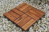 SAM Terrassenfliese 02 Akazien-Holz FSC 100%, Einzelfliese 30x30 cm, Bodenbelag mit Drainage, Mosaik Klickfliesen