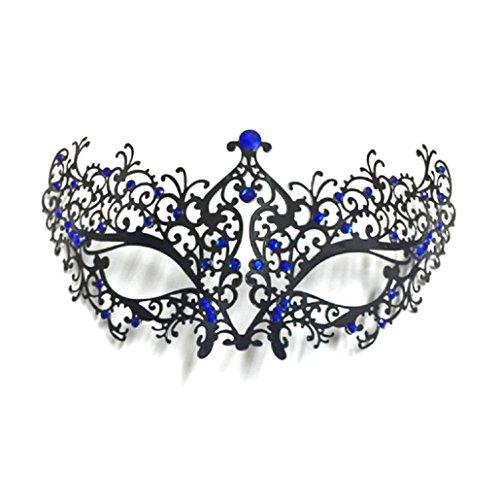 (ShineBlue Masquerade Maske Filigrane Metall Eyemask mit Rhinesones für Frauen Kostüm Maskenball Fancy Party 2 (Black & Blue))