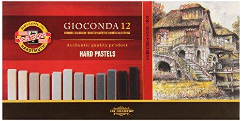 KOH-I-NOOR GIOCONDA 8122 Harte Künstler-Pastellkreide Set in Grautönen