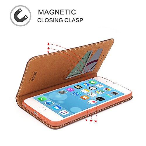 IPhone 7 Leder , IPhone 7 Huelle Leder Klapphülle Echtem Premium Leder[ TPU Soft Built-in ] Folio 2 Kreditkarten-Slots Beutel mit Magnetverschluss Für Iphone 7 - Braun Schwarz