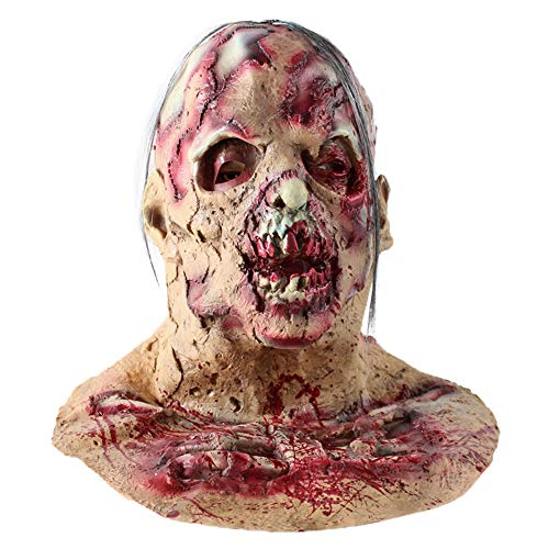 Fulltime E-Gadget Latex Maske Horror Maske, Halloween Cosplay Scary Maske Kostüm Für Erwachsene Party Dekoration Requisiten Gruselig (Beige)