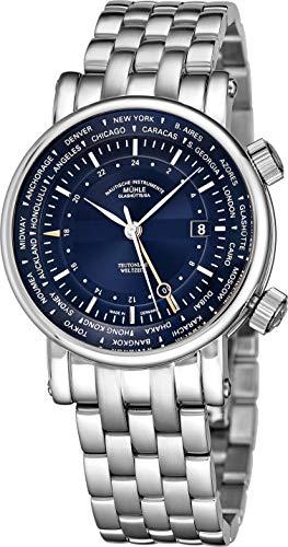 Muhle Glashutte Teutonia II Weltzeit Herren Automatik GMT Uhr - Blaues Zifferblatt mit Datum, Weltzeit und Saphirglas - Edelstahlband Präzisionsuhr Made in Germany M1-33-82 MB