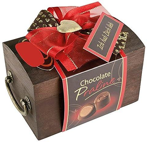 Pralinen Geschenkbox aus Holz | Pralinenschachtel Holztruhe Spruch: Ich hab dich lieb | Kleines Geschenk Geschenkidee für Frau Freundin mit (Valentines Geschenke Idee)