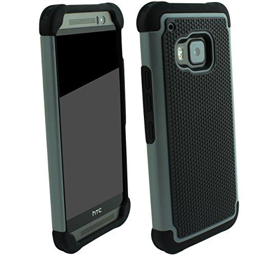 Outdoorschutzhülle für HTC ONE M9 Case inkl. Panzerglas 9H transparent Outdoor Grau Cover Hybrid Schutz Hülle Sturz Bumper Folie Schwarz Black Grey