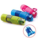 YF-36 22 Ounce Collapsible Silicone Water Bottle Bag Carabina Clip Collapsible Camping Canteen Blue