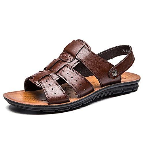 Hafiot uomo estivi sandali pelle, sportivi antiscivolo morbido piscina mare antinfortunistica spiaggia scarpe aperti nero marroni 38-47 br42