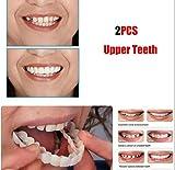 2Pcs / Set (dentiera Superiore) Riutilizzabile Snap Adulto su Sorriso Perfetto Sbiancante Protesi Dentale Fit Flex Denti Cosmetici Confortevole Copertura per impiallacciatura Accessori per la Cura