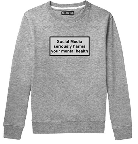 3d4fbd44f BLAK TEE Warning Social Media Seriously Harms Your Mental Health Unisex  Homme Femme Pullover Hoodie L