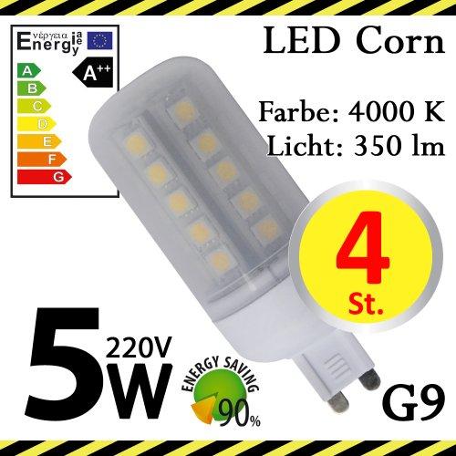 4-er Pack ALMIPEX G9 LED Lampe Korn 5W (350lm - 4500 K - Weiß - 33 x SMD 5050 - 270º Abstrahlwinkel - G9 Sockel - 230V AC - 5 Watt - Ø 32×92 mm)