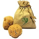 Éponges Méditerranéennes naturelles avec un sac en chanvre