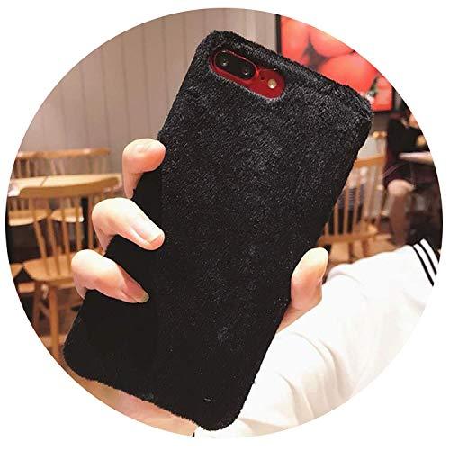 lle für iPhone XS Max XR X Cover Hard Smooth Plüsch Hüllen für iPhone 8 Plus 6 6S 7 Plus, Schwarz für iPhone 8 ()