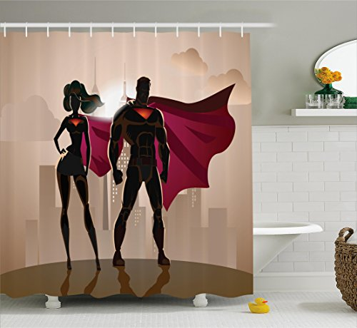 ng, Superheld Comic Superfrau und Mann Helden in der Stadt im Kostüm Kinderfreundliches Druck, Wasser und Blickdicht aus Stoff mit 12 Ringen Bakterie Resistent, 175 X 200 cm (Aus Superhelden Kostüme Ideen)