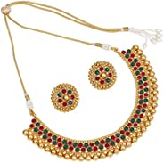 SANARA Indian Bollywood Ethnic Gold Plated Choker Style Green Necklace Set for Partywear Women and Girls Weddi