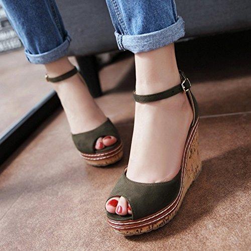 COOLCEPT Femmes Mode Cheville Sandales Peep Toe Compenses Heel Chaussures Vert
