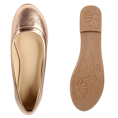 Damen Ballerinas Lack Slipper Flats Schuhe Lederoptik Bronze Glanz