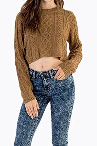 Bigood Femme Rétro Pulls Tricot Tops Cape Sweat-shirt Chemise Slimmer Marron