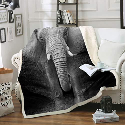 Schwarz Und Weiß Gedruckt (MegOK Elefant Sherpa Decke 3D Gedruckt Tier Tagesdecke Fotografie Schwarz und Weiß Plüschdecke, 150 cm x 200 cm)
