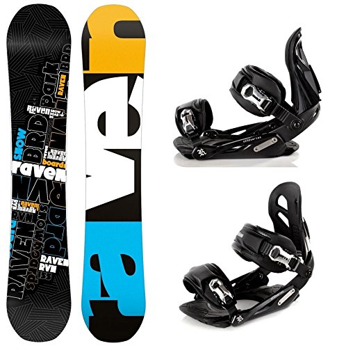 Snowboard Set: Snowboard Raven RVN Black Rocker + Bindung Raven s250 Black M/L