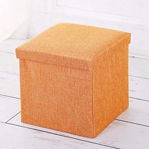 ZZbaixinglongan Aufbewahrungsbox aus Leinen, zusammenklappbar, tragbar, Picknicksitz, Fußhocker für Heimdekoration - Orange -