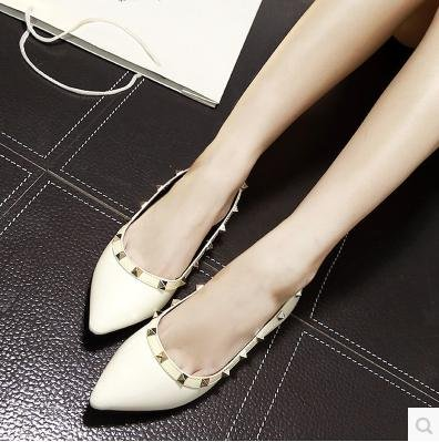&zhou Soft confortable faible mode fashion rivet sexy chaussure Pointed head Loisirs 37