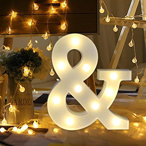 Ouneed Alphabet LED Brief Lichter leuchten weiße Kunststoff Buchstaben stehen hängen A-Z Hochzeit home party Dekorative (&) (Dekorative Home-zeichen)