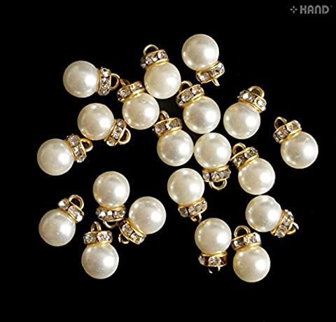 Accessories Jewellery Making Dangle Imitation Pearls Bead with Rhinestones Embellishment Trim - (A39 - 10mm) by @hand