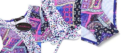 Avidlove Sexy Damen Bikinis Bedruckte Sport Bademode Push Up Bikini-Sets Badeanzug Tankini Beachwear Top und Hose mit Schnüren Violett