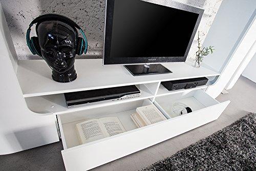 Design Medienwand CUBUS weiß 185cm Hochglanzfront 3D Optik Wohnwand TV Wand - 6