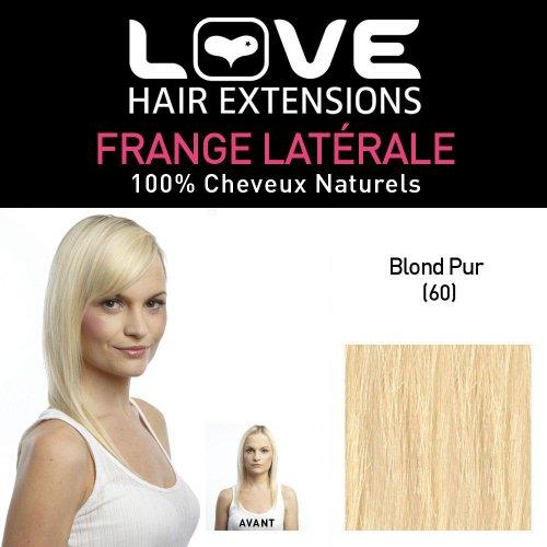 Love Hair Extensions - LHE/FRA1/QFC/CISF/60-100% Cheveux Naturels - Frange Latérale - Couleur 60 - Blond Pur