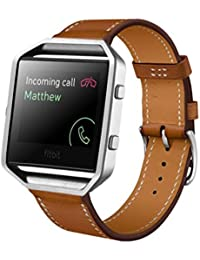 Malloom correa de cuero de lujo genuino reloj banda de muñeca para Fitbit Blaze (marrón)