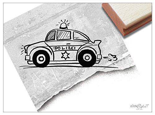 Stempel - Kinderstempel Polizei-Auto Funkwagen - Bildstempel Geschenk für Kinder - Schule Kita Einschulung Basteln Deko - von zAcheR-fineT (groß ca. 29 x 58 mm)