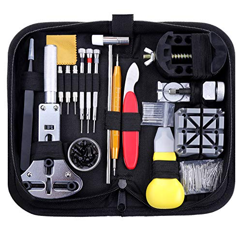 Zacro 151 Pcs Kit de Reparación de Relojes, con Herramientas de Reloj Barra de Resorte Profesional...