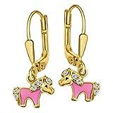 CLEVER SCHMUCK Vergoldete Ohrhänger 20 mm mit kleinem Mini Pony teils rosa lackiert mit vielen Zirkonias STERLING SILBER 925 gold-plattiert für Kinder