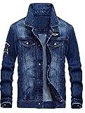 MatchLife Homme Nouveau Blouson Manteau en Jean pour Automne, Hiver et Printemps Style2-Bleu Clair-2XL