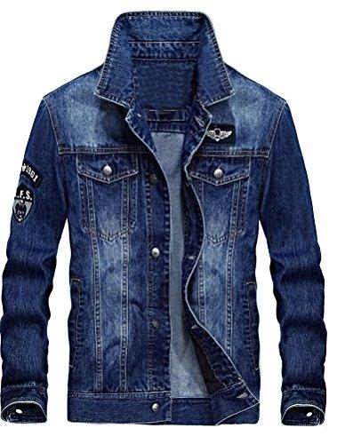 MatchLife Homme Nouveau Blouson Manteau en Jean pour Automne, Hiver et Printemps Style2-Bleu Clair-M