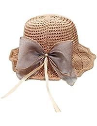 LAMEIDA Sombrero de Sol Plegable del Pescador del Sombrero de la Playa Gorro de Lino para Mujeres Niñas Size 56-58cm (Caqui)