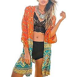 Minetom Mujer Verano Estampado Boho Floral Mantón Suelto Kimono Del Chal Cárdigan Cubra La Blusa de La Camisa Tops Cover Up Naranja ES 38