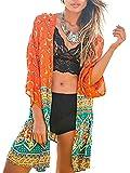 Minetom Femmes Été Long Cardigan Kimono Cover up 3/4 Manche Transparent Vêtement de Plage Soleil Floral Bohème Vacances Chemisier Tops Orange FR 38