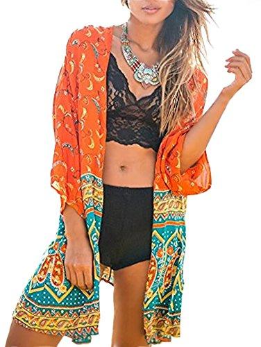 Minetom Damen Sommer Kimono Cardigan Lose Blumenmuster Floral Print 3/4-Arm Beach Cover up Leicht Tuch Blusen Tops Jacke Beachwear Strand Orange DE 46 (Kimono-hemd)