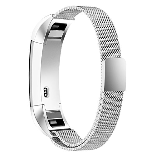 "Simpeak Compatible Fitbit Alta Correa(5.5\""-8.5\"" Pulgadas), Fitbit Alta HR Correa de Acero Inoxidable Reemplazo Wristband Pulseras Banda Fitbit Alta Fitness con Cerradura Imán Único,Plata"