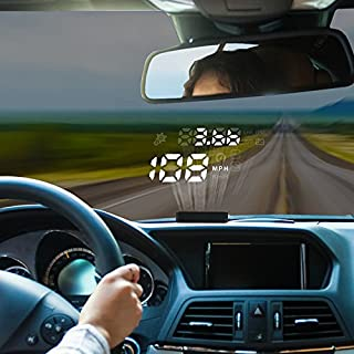 AUTOOL 12V X220 Digital Auto Car HUD OBD Head Up Display KM/H MPH Speedometer Overspeed Alarm Engine Trouble Alarm Car Windshield Projector With Reflective Film For Most Domestic Vehicles