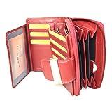 Damen Leder Geldbörsen in Rot mit RFID Schutz viel Stauraum