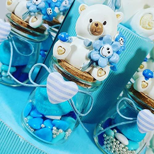 Sindy bomboniere vasetti per confetti nascita bimbo e battesimo prezzi economici con confettini, marshmallow e zuccherini (elemento singolo aggiuntivo)